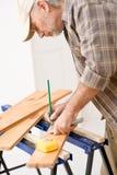 Home improvement - handyman prepare wooden floor Stock Image