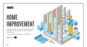 Free Home Improvement Isometric Landing Page Banner Royalty Free Stock Photography - 162552477