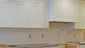 Home Improvement Kitchen Remodel view installed in a new kitchen stock footage