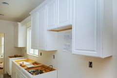 Home Improvement Kitchen Remodel view installed in a new kitchen. Cabinets installation Royalty Free Stock Photography