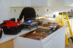 Home Improvement Kitchen Remodel view installed in a new kitchen Stock Image