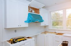 Home Improvement Kitchen Remodel worm& x27;s view installed in new kitchen. Home Improvement Kitchen Remodel worm& x27;s view installed in a new kitchen Royalty Free Stock Image