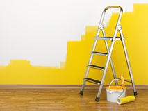 Home Improvement. Ladder, paint can and paint roller Stock Photo