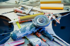 Home improvement  messy clutter with dusted tools Stock Image