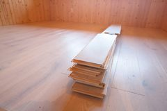 Home improvement, new parquet flooring Royalty Free Stock Images
