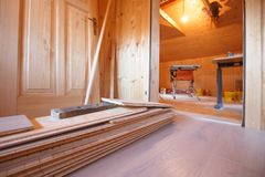 Home improvement, new parquet flooring royalty free stock photo
