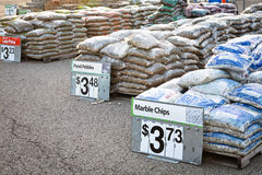 Home Improvement Shopping: Landscaping Stone. Bags of landscaping stone for sale in the home and garden section of a store stock photography