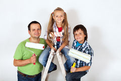The home improvement squad - ready to paint a room Royalty Free Stock Image