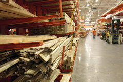 At the home improvement store. Lumber aisle at the home improvement store Royalty Free Stock Photography