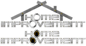 Home Improvement Symbol with Metal Gears. Metal symbol with text Home Improvement, metal gears, wooden and metal meter ruler in the shape of house. Isolated on Stock Photos