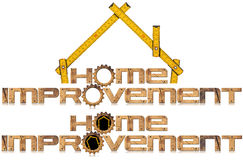 Home Improvement Symbol with Wooden Gears Stock Photo