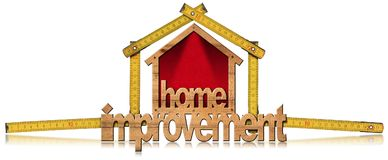 Home Improvement Symbol with Wooden Ruler. Home improvement - Wooden symbol in the shape of a house 3D illustration with a folding ruler. Isolated on white Stock Photo