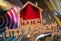 Home Improvement Symbol with Work Tools Royalty Free Stock Photo