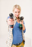 Home improvement - woman with battery screwdriver Stock Image