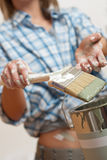 Home improvement: Woman holding paint brush Stock Photography