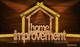 Home Improvement Symbol with Wooden Ruler. Home improvement - Wooden symbol in the shape of a house 3D illustration with a folding ruler. On a desk with shadows Stock Images