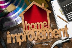 Home Improvement Symbol with Work Tools Royalty Free Stock Photos
