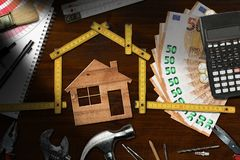 Home improvement - Work tools and house stock photo