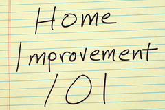Home Improvement 101 On A Yellow Legal Pad Stock Image