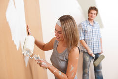 Home improvement: Young couple Royalty Free Stock Images
