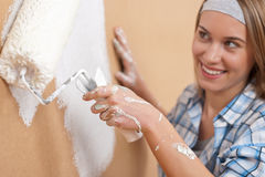 Home improvement: Young woman painting wall. With paint roller Stock Photography