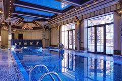 Home indoor pool stock image