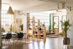 Free Home Indoors. Open Space With Living Room And Dining Room In Bright Industrial Loft With Green Plants. Stock Photo - 177747350