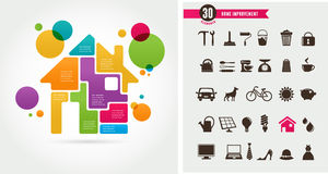 Home - infographics and icon set Royalty Free Stock Images