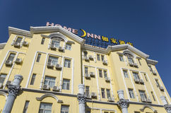 Home Inns. Is the best chinese economy hotel chain brand,Dalian city, China stock photography