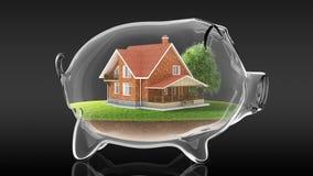 Home inside transparent piggy bank. 3d rendering Stock Photo