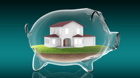 Home inside transparent piggy bank. 3d rendering Royalty Free Stock Photography