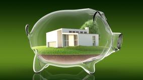 Home inside transparent piggy bank. 3d rendering Royalty Free Stock Image