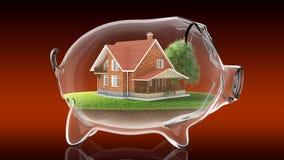 Home inside transparent piggy bank. 3d rendering Stock Images