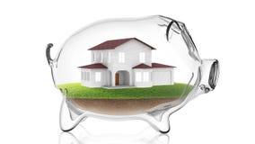 Home inside transparent piggy bank. 3d rendering Stock Photos