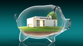 Home inside transparent piggy bank. 3d rendering Royalty Free Stock Photos
