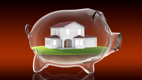 Home inside transparent piggy bank. 3d rendering Royalty Free Stock Photo