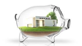 Home inside transparent piggy bank. 3d rendering Royalty Free Stock Images