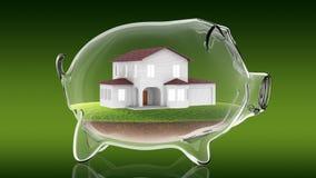 Home inside transparent piggy bank. 3d rendering Stock Photography