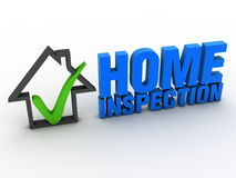 Home inspection. 3D writing and a little home icon Royalty Free Stock Image