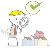 Home Inspection. Doodle stick figure: Inspecting the houses Stock Photos