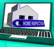 Home Inspection House Laptop Means Inspect Property Thoroughly Stock Image