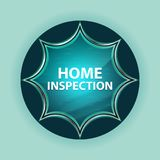Home Inspection magical glassy sunburst blue button sky blue background. Home Inspection Isolated on magical glassy sunburst blue button sky blue background stock photo
