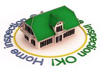 Home inspection ok. 3d home with home inspection ok written in circular path around it royalty free illustration