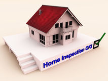 Home inspection selection. A green check mark or tick on a home for inspection, insurance or buy / sell purpose royalty free illustration