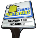 Home Inspections Sign Licensed Thorough Inspector Service Royalty Free Stock Photography