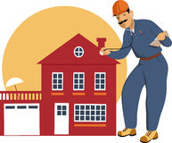 Home inspector. Building inspector examining a house with a stethoscope, vector illustration vector illustration