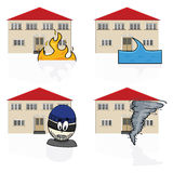 Home insurance. Illustration of an icon set showing a house with different hazards covered by insurance, such as fire, flooding, burglary and tornadoes Stock Image