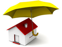 Home insurance. A house building with umbrella showing insurance cover for home, building and inventory Royalty Free Stock Images