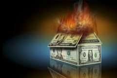 Home Insurance. Dollar bills burning in the form of a house Royalty Free Stock Photo
