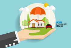 Home insurance business service. Vector illustration concept of. Insurance Royalty Free Stock Photos